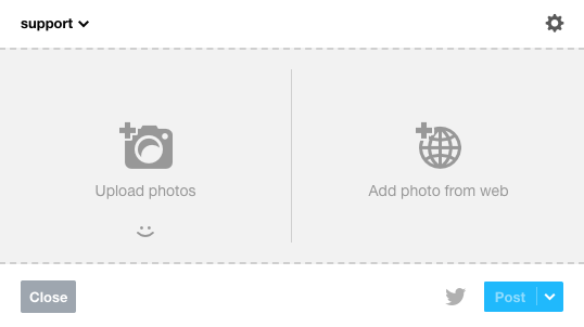 レガシー画像投稿エディターには、画像をアップロードとWebから画像を追加という2つのオプションがあります。
