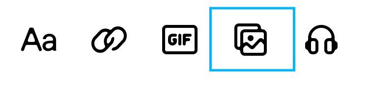 iOSアプリにはコンテンツを挿入するための以下のさまざまなアイコンがあります: テキスト、リンク、GIF検索、デバイスギャラリーを開く、音声。