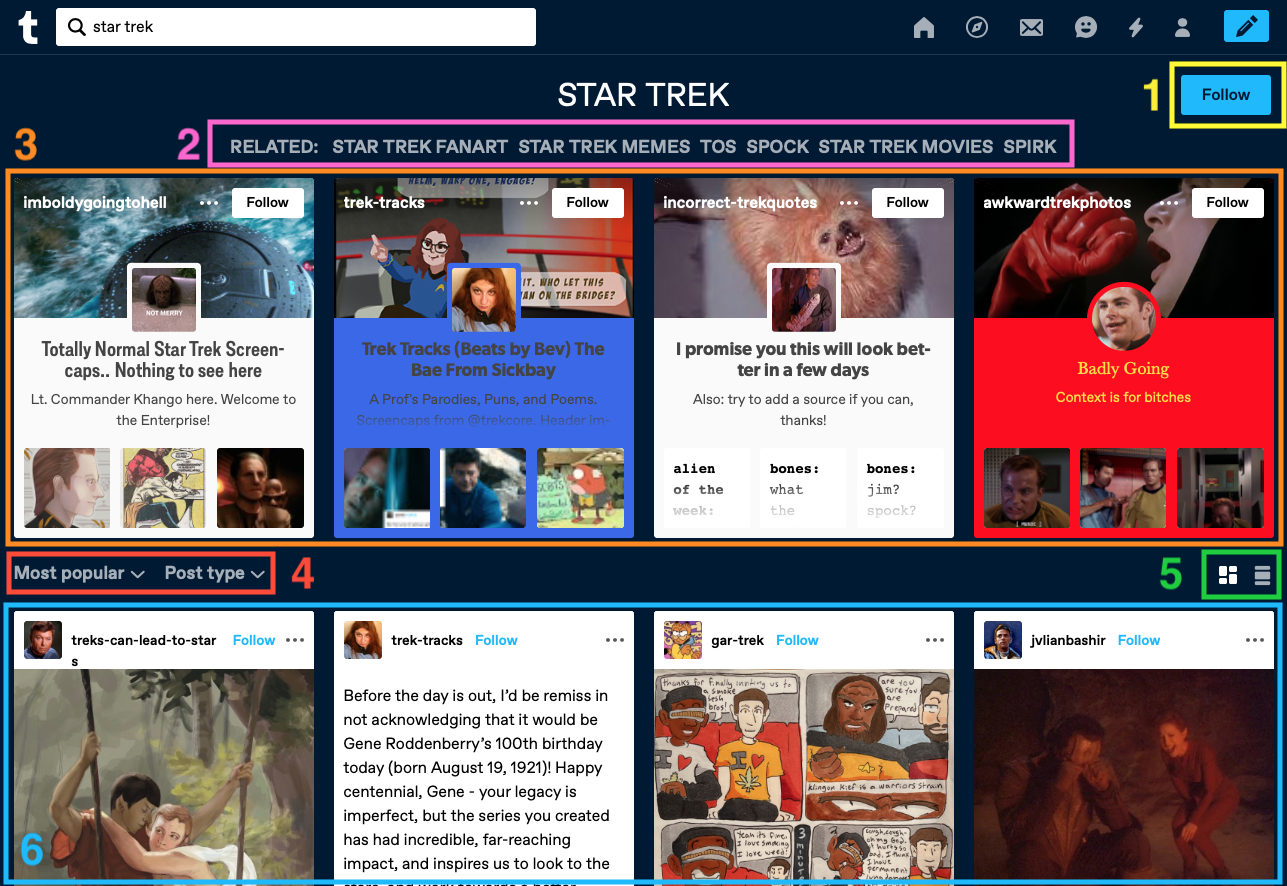 Página de resultados da pesquisa Star Trek na Web. Seis opções são etiquetadas numericamente. Clica no link da descrição da imagem que se encontra abaixo da mesma, para veres uma descrição detalhada da captura de ecrã. Consulta o texto abaixo da imagem para estares a par das explicações das etiquetas correspondentes.