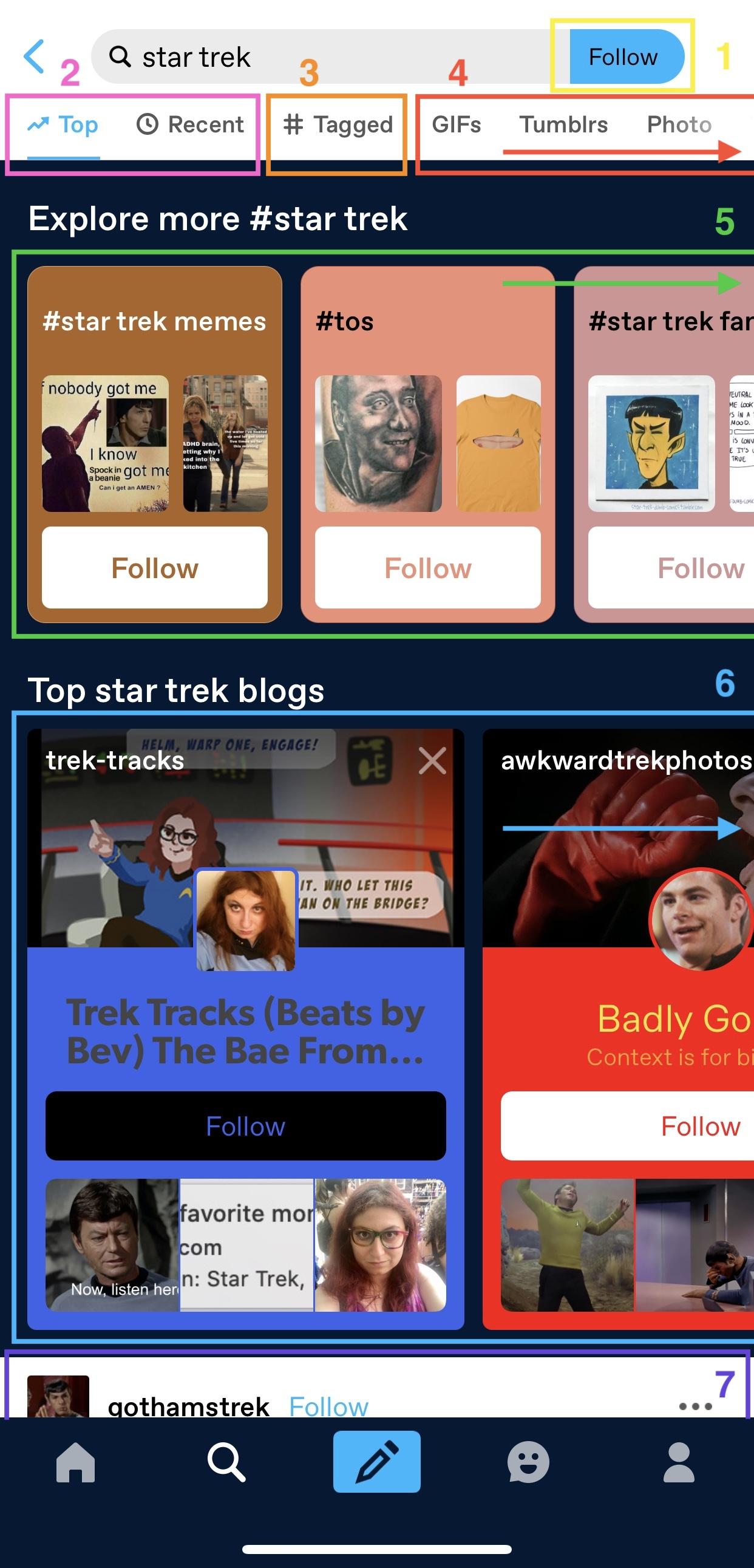página de pesquisa de Star Trek na aplicação. Sete opções são etiquetadas numericamente. Clica no link da descrição da imagem abaixo da imagem para veres uma descrição detalhada da captura de ecrã. Vê o texto abaixo da imagem para conheceres as explicações das etiquetas correspondentes.